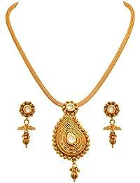 JFL - Traditional Ethnic One Gram Gold Plated Kundan Designer Pendant Set For Women & Girls