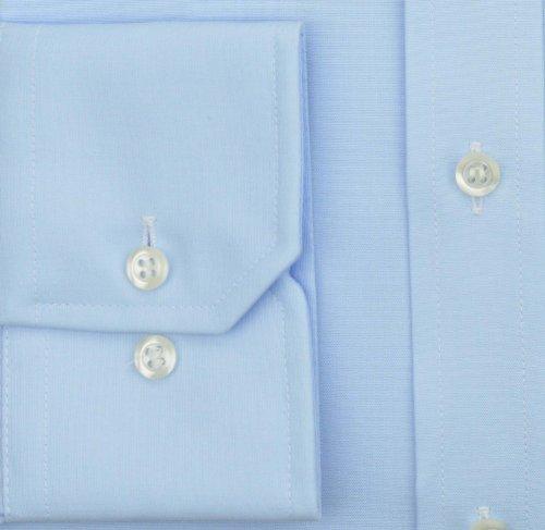 eterna Langarm Hemd Comfort Fit Popeline Unifarben Hellblau