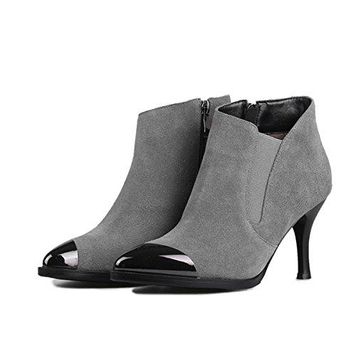 Sopily - Chaussures Basses Mode Bottes Bottines Aiguilles Métal À Faible Boucle Femelle 12 Cm - Wl-39 Brun 628-83 T - Fr 6 etbfSjO