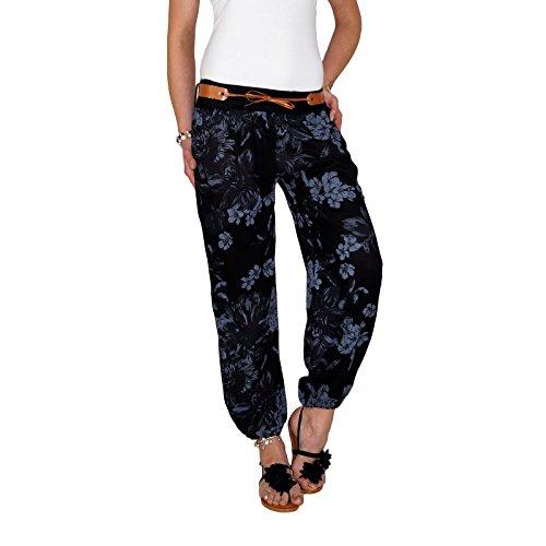 DB Damen Sommerhose mit Blumenmuster in schwarz, beige, taupe, weiß, blau und khaki Schwarz