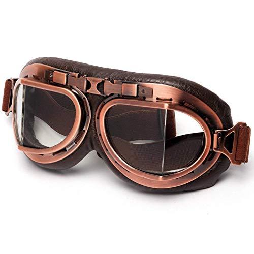 ColorJoy Motorradbrille Retro Vintage Schutzbrille Pilotenbrille Schutzbrille Aviator Brille Helm, 1, Einheitsgröße