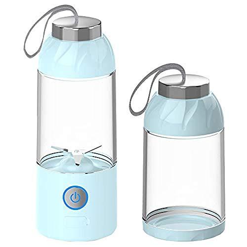 Licuadora personal Licuadora batidora - Licuadora portátil 3D Mini Travel con batería recargable USB Licuadora de frutas para el hogar Vaso de jugo USB Azul,azul,cuchillas de acero inoxidable Vaso de