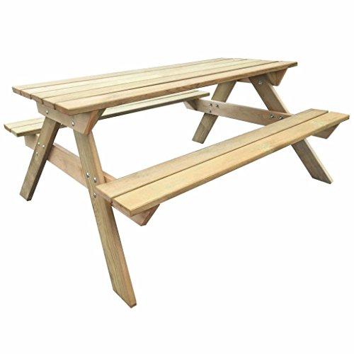 vidaXL Table de Pique-Nique Bois FSC Table de Jardin Terrasse Meuble Extérieur