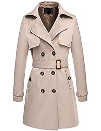 Valuker Trench para Mujer foso de las mujeres capa larga con cinturon abrigo
