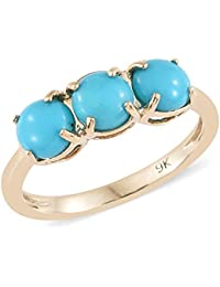 800d2345dc6032 TJC 9ct Yellow Gold AAA Arizona Sleeping Beauty Turquoise Three stone Ring  for Women