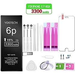 YDSTECH Batterie Interne Compatible pour iPhone 6 Plus 3300mAh de Haute Capacité avec Kits d'outil de Réparation,Feuille en Verre trempé,Manuel en Francais Adhésif