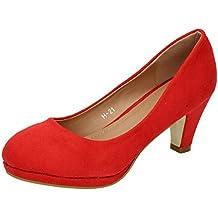 ZAPATOP H-21 Tacones Rojos Salón Mujer Zapatos Tacón