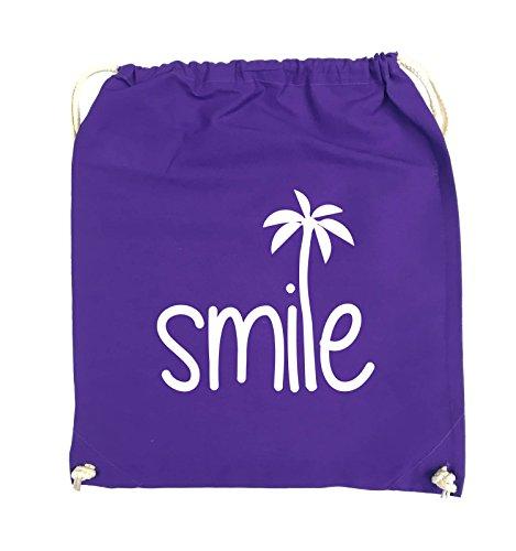 Borse Da Commedia - Smile - Palm - Turnbeutel - 37x46cm - Colore: Nero / Rosa Viola / Bianco