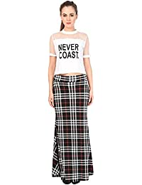 FRANCLO Women's Fish Cut Style Check Skirt (100% Imported Fabric) (Best fit 30-34 Waist) (Slit/Cut on Back Side)