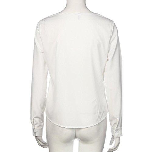 Vovotrade Femmes Occasionnels Solides V-Neck Manches Longues Top Blouses Nouvelle Mode Blanc