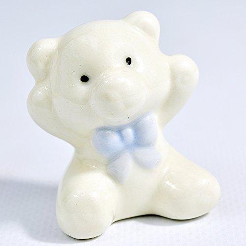 12 pezzi bomboniere nascita battesimo maschio orsetto ceramica celeste