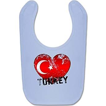 BZ12 Baby Lätzchen Latz Babyparty Geschenk Geburt Baby Bib – Unisize – Babyblau – EM 2016 Frankreich Babys – Turkey Herz Grunge