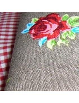 Giro di testa di panno per ragazza con rose rosse su sfondo grigio/E Motivo A Quadretti In Bianco E Rosso In 100%...