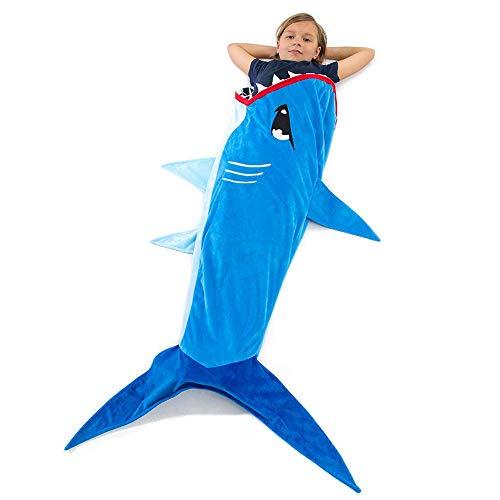 Geekbuzz Kinder Meerjungfrau Flosse Decke Super Weich & Warm Fleece Haie Schlafsack für Kinder 3-10 Jahre alt Blaue ()