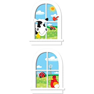 RoomMates Repositionable Childrens Giant Wall Sticker Windows Farm