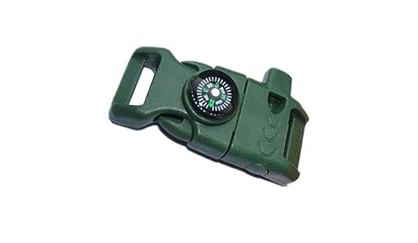 merssavo Noir Side boucle de ceinture avec Whistle Compass Pierre /à feu allume-feu scaper pour bracelet paracorde