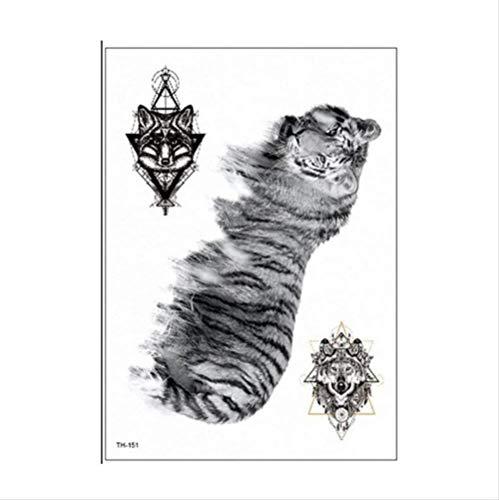 Verkauf Realistische Zum Kostüm - yyyDL Verkauf Temporäre Tätowierung Aufkleber Wasserdicht Tiger wolf Gefälschte Tier Tattoos Erwachsene Männer Frauen Bunte Körperkunst 14,8 * 21 cm 4 stücke