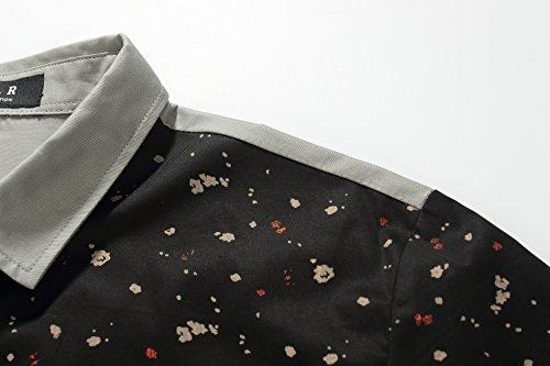 SSLR Herren Druck Typ Casual Kurzarm Hemd Schwarz Grau
