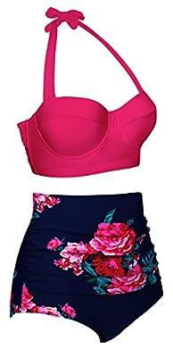 Angerella Damen Retro Stil Blumenmuster mit Hoher Taille Badeanzug Bikini Set