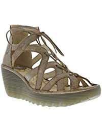 Fly London Womens YELI719FLY Wedge Yellow Leather Sandals 38 EU