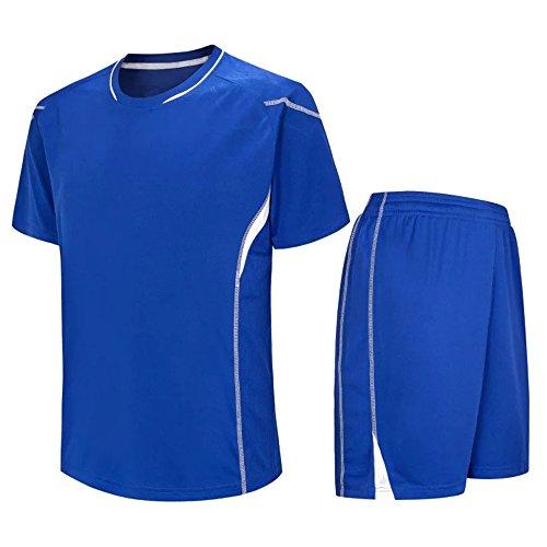KINDOYO Gemütlich Erwachsene Kinder Fußball Team Training Kit Männer Kurzarm Fußball Trainingsanzug (M, Blau 2) -