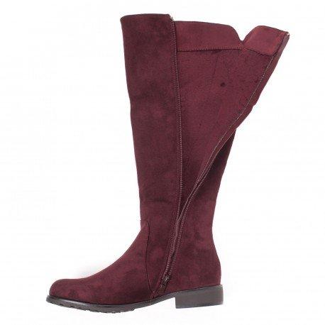 Ideal Shoes - Bottes effet daim à strass Aurane Rouge