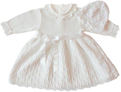 deine-Brautmode Taufkleid Strickkleid Festkleid Mädchen Babykleid Baby Taufe gestricktes Kleid, Emilia 62