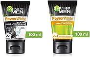 Garnier Men Power White Anti-Pollution Double Action Facewash, 100gm And Garnier Men Power White Anti-Dark Cel