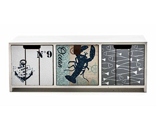 ArtiCasa Mini-Kommode aus MDF, 3 Schubladen, maritimer Shabby-Look, Griff-Lasche und -Mulden, Größe ca. 33 x 12,5 x 10 cm