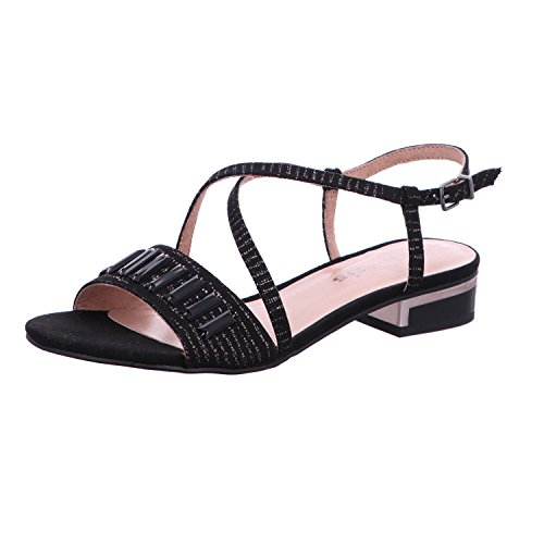 Tamaris 28221-20 Damen Modische Sandale Aus Velourslederimitat und Textilfutter, Groesse 39, Schwarz