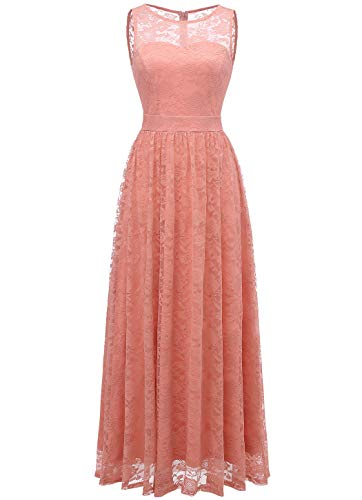 WedTrend 10007 Frauen Lace Lange Brautjungfer Kleid Party Kleid Cocktailkleid Blush XL