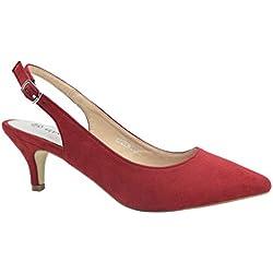 Greatonu Zapatos de Tacón Rojos Casuales Cómodos de Bodas y Fiestas para Mujer Tamaño 41 EU