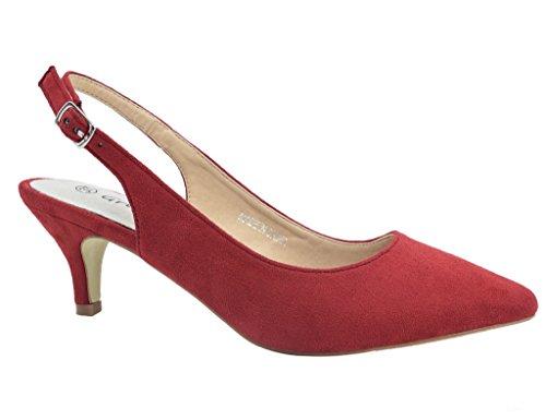Greatonu Zapatos de Tacón Rojos de Modas Cómodos de Fiesta para Mujer Tamaño 39 EU