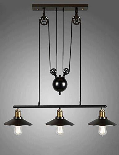 Gweat Pulley Retrò Lampadario Industriale 3 Luci per Ristorante Club Bar Cafe Loft Soggiorno Sala Studio, Luce a Sospensione in ferro Colore Nero Illuminazione Vintage Stile Nordico E27