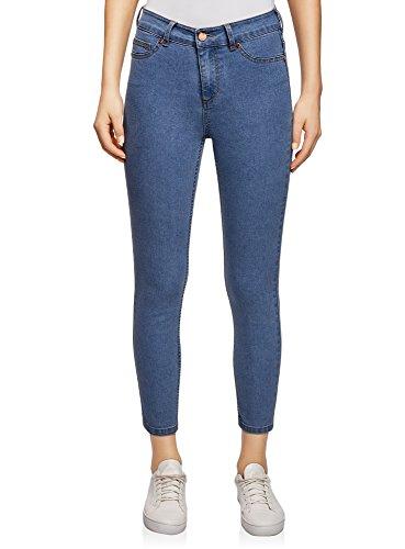 Oodji ultra donna jeans skinny con lunghezza a 7/8 a vita alta, blu, 25w / 30l (it 38 / eu 34 / xxs)