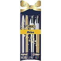 BIC Cristal Shine et BIC 4 Couleurs Shine Stylos-Bille Noël - Couleurs Assorties, Pochette de 4