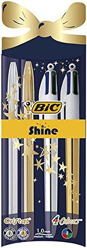 BIC Cristal Xmas Shine y BIC 4 colores Shine bolígrafos Navidad bolígrafos de punta media (1,0 mm) – colores Surtidos…