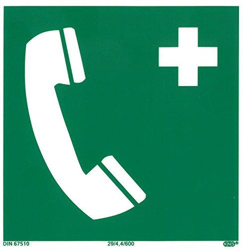 Rettungszeichen Notruftelefon 15x15cm ISO7010 - Kunststoff nachleuchtend selbstklebend