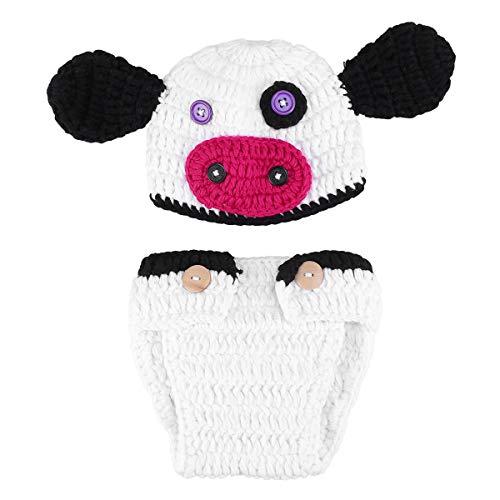 TENDYCOCO Neugeborenes Baby Kuh Kostüm häkeln gestrickte Foto Fotografie Requisiten Set Foto Shoot - Kuh Neugeborenen Kostüm