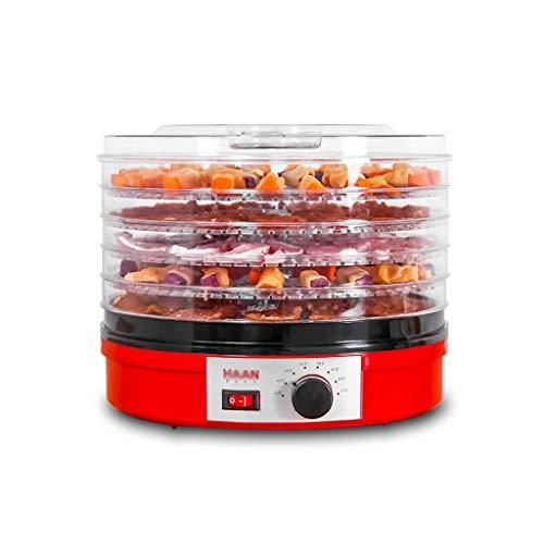 Deshidratador de alimentos, control de perilla de la bandeja de ABS de 5 capas Temperatura ajustable para hacer rollos de fruta deshidratada Rodajas de fruta Comida para perros Comida para gatos