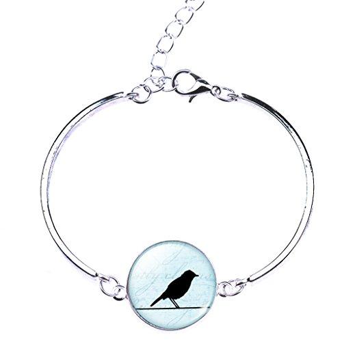 Jiayiqi Bijoux Femmes Oiseaux Noirs Belle Profil Art Photo Temps Bijou Bracelet Gourmette No 3