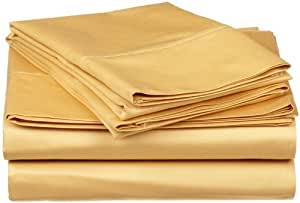Simple Luxury 300XXXX XXXX 300 Thread Count Solid Sheet Set Color: Gold, Size: Twin by egyptianlinensoutlet.com