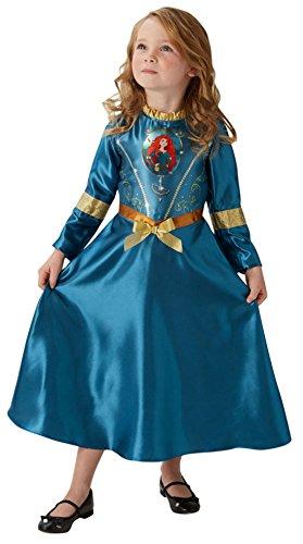erdbeerloft - Mädchen Kostüm Karneval Prinzessin Fairytale Merida, Petrol, Größe 110-116, 5-6 (Pfeil Kostüm Grüner Girl)