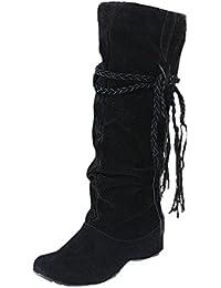 JURTEE Damen Langschaft Schnürstiefel Erhöhen Plattformen Oberschenkel Hohe Tessals Stiefel Motorrad Blockabsatz Schuhe