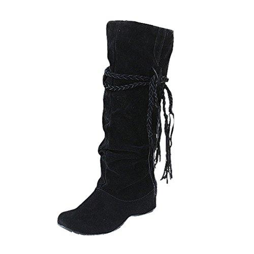 Stiefel Damen Boots Mittlere Stiefel Winterstiefel Frauen Erhöhen Plattform Schuhe Schenkel-hohe Stiefe Motorrad Freizeitschuh ABsoar - Cowboy-plattform
