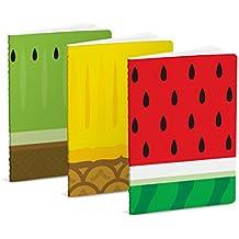 Mustard Froot Notebooks - Set de 3 libretas de bolsillo I Cuaderno de notas con 40 páginas blancas - diseño de frutas