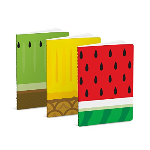 Mustard - quaderno tascabile i taccuino i diario da viaggio con copertina frutta confezione da 3 pezzi - colori assortiti froot notebooks
