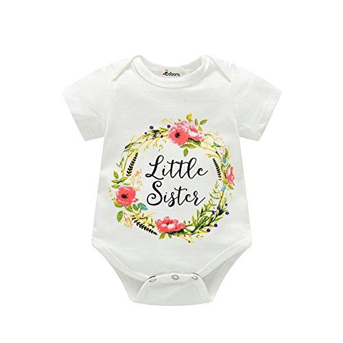 Sommer Kinder Mädchen T-Shirt Kurzarm Little Sister Strampler Big Sister Printed Sweatshirt Outwear für 0-6 Jahre Alt (Shirt Mädchen Kleine)