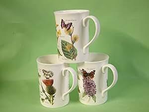 Bone china mugs with wild flowers & butterflies design a set of 3 mugs dishwasher safe