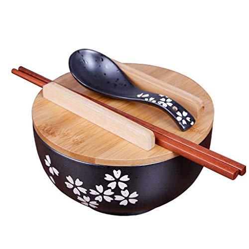 LIXUE Japanische Art Retro Keramik Schüssel schwarz Ramen Suppe Nudel Schüssel mit Deckel und Stäbchen Hand gezeichnet Obstsalat Schüssel Geschirr ()
